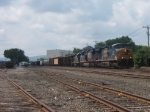 The train pauses at Pittsfield yard to set out 18 cars and the trailing diesel locomotive